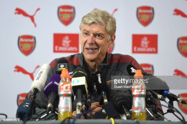 Arsenal manager Arsene Wenger faces the press for the last time at London Colney on May 10, 2018 in St Albans, England.