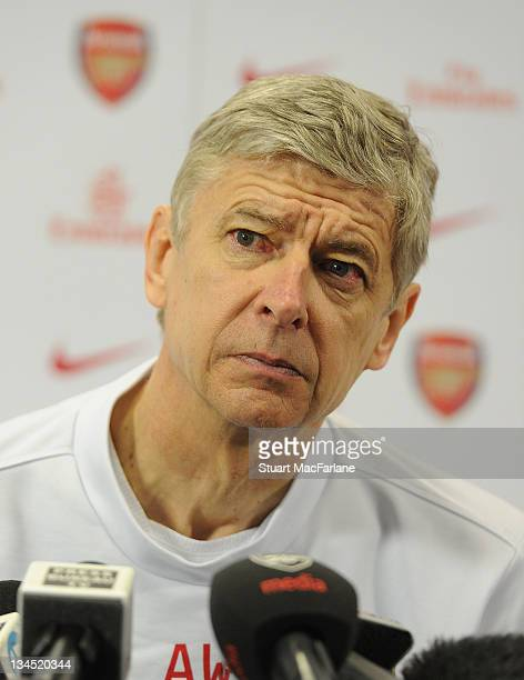 Arsenal manager Arsene Wenger holds a press conference at Arsenal's London Colney training ground on December 2, 2011 in St Albans, England.