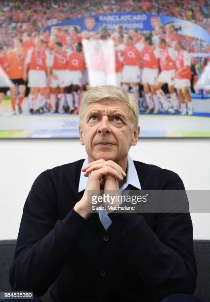 Arsenal manager Arsene Wenger in his office at the Arsenal training ground at London Colney on April 27 2018 in St Albans England