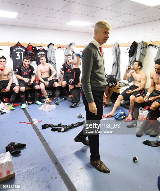 Arsenal manager Arsene Wenger in the changing room after the Premier League match between Huddersfield Town and Arsenal at John Smith's Stadium on...