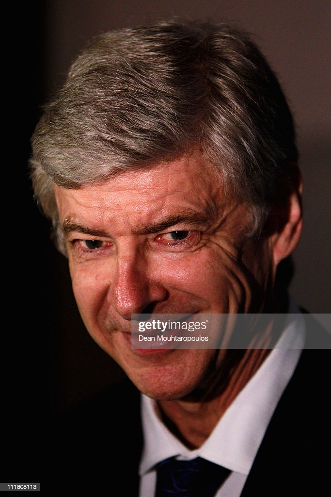 Arsenal Manager, Arsene Wenger is pictured showing his support for the 2018 Olympics Winter Games bid presentation for Annecy at the Park Plaza Westminster Bridge Hotel on April 7, 2011 in London, England.