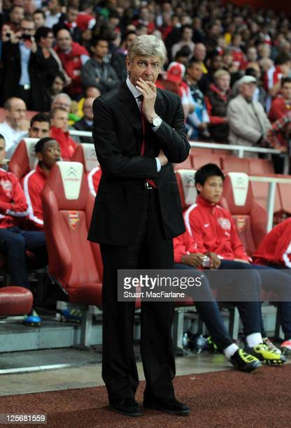 Arsenal manager Arsene Wenger looks on before the Carling Cup Third Round match between Arsenal and Shrewsbury Town at Emirates Stadium on September...