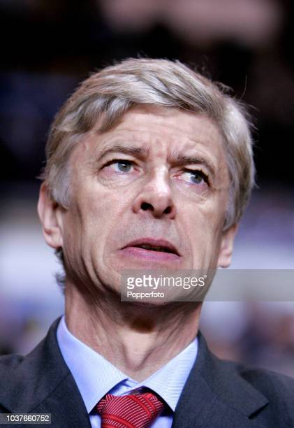 Arsenal Manager Arsene Wenger looks on during the Barclays Premier League match between Aston Villa and Arsenal at Villa Park in Birmingham England...