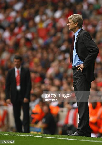 Arsenal manager Arsene Wenger looks on during the Barclays Premier League match between Arsenal and Sunderland at the Emirates Stadium on October 7...