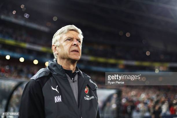 Arsenal manager Arsene Wenger looks on during the match between Sydney FC and Arsenal FC at ANZ Stadium on July 13 2017 in Sydney Australia