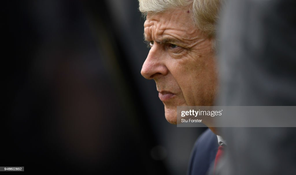 Arsenal manager Arsene Wenger looks on during the Premier League match between Newcastle United and Arsenal at St. James Park on April 15, 2018 in Newcastle upon Tyne, England.