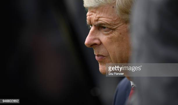 Arsenal manager Arsene Wenger looks on during the Premier League match between Newcastle United and Arsenal at St James Park on April 15 2018 in...