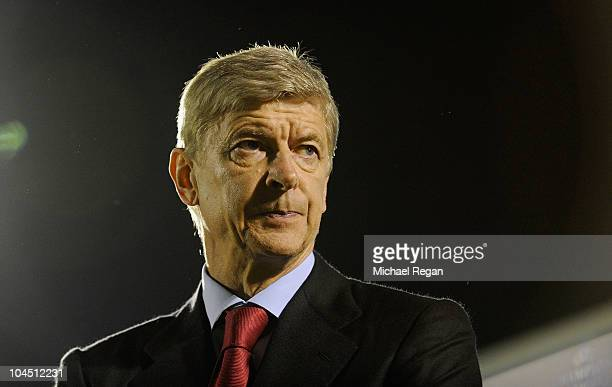 Arsenal manager Arsene Wenger looks on during the UEFA Champions League Group H match between FK Partizan and Arsenal at the Partizan Stadium on...