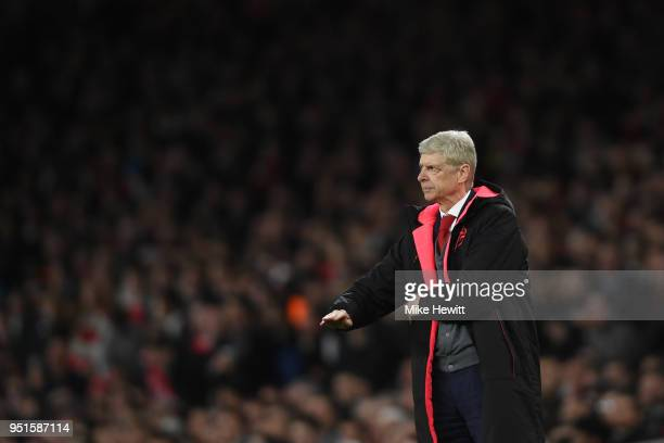 Arsenal manager Arsene Wenger looks on during the UEFA Europa League Semi Final leg one match between Arsenal FC and Atletico Madrid at Emirates...