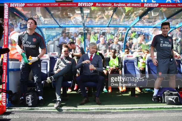 Arsenal manager Arsene Wenger looks on from the bench during the Premier League match between Huddersfield Town and Arsenal at John Smith's Stadium...