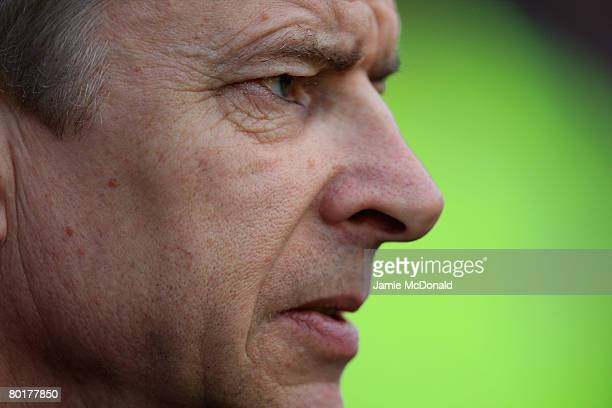 Arsenal Manager Arsene Wenger looks on prior to the Barclays Premier League match between Wigan Athletic and Arsenal at The JJB Stadium on March 9,...