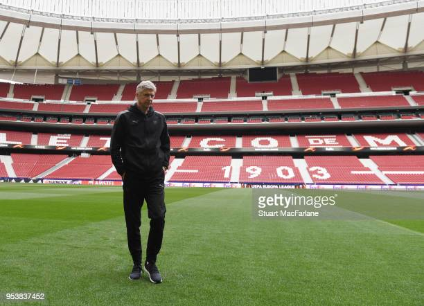 Arsenal manager Arsene Wenger on the pitch at Estadio Wanda Metropolitano on May 2 2018 in Madrid