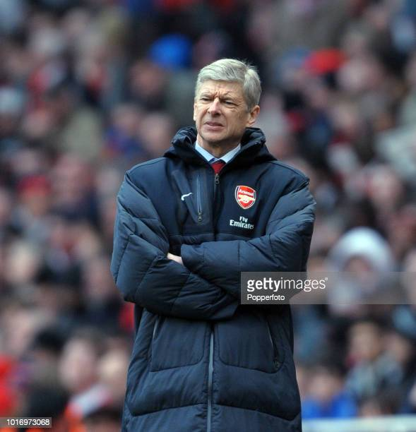 Arsenal manager Arsene Wenger reacts during the Barclays Premier League match between Arsenal and Sunderland at the Emirates Stadium on March 5 2011...