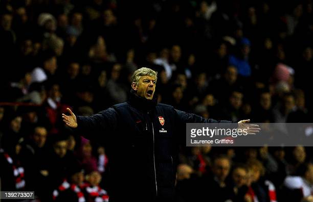 Arsenal Manager Arsene Wenger reacts during the FA Cup Fifth Round match between Sunderland and Arsenal at The Stadium of Light on February 18 2012...