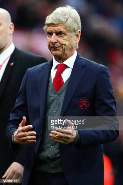Arsenal manager Arsene Wenger reacts following the Premier League match between Stoke City and Arsenal at Bet365 Stadium on August 19 2017 in Stoke...