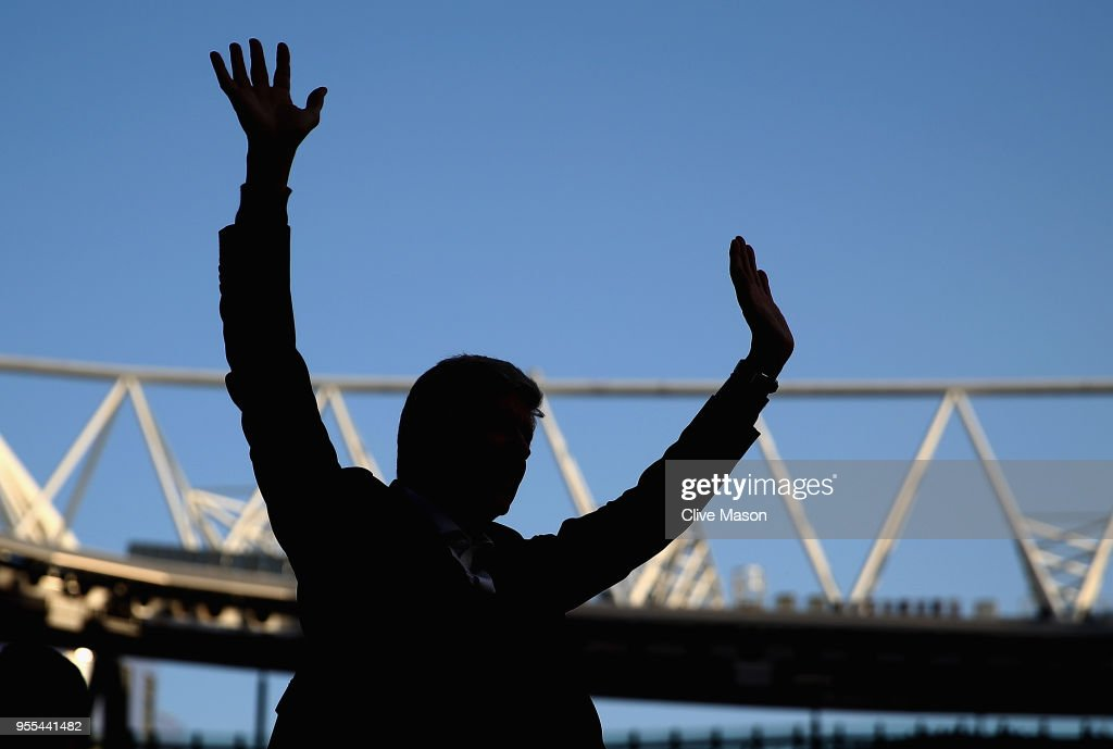 Arsenal manager Arsene Wenger says goodbye to the Arsenal fans after 22 years at the helm at the end of the Premier League match between Arsenal and Burnley at Emirates Stadium on May 6, 2018 in London, England.
