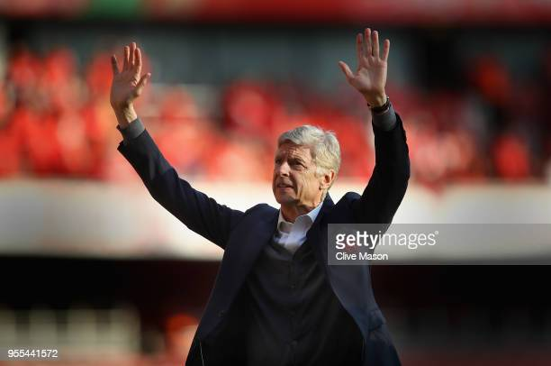Arsenal manager Arsene Wenger says goodbye to the Arsenal fans after 22 years at the helm at the end of the Premier League match between Arsenal and...