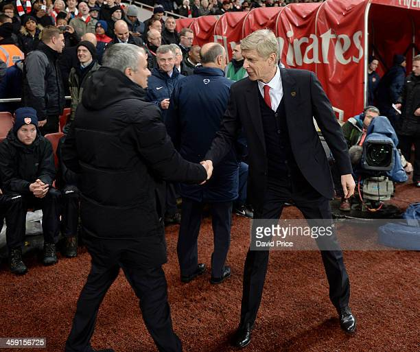 Arsenal Manager Arsene Wenger shakes hands with Jose Mourinho the Chelsea Manager before the match between Arsenal and Chelsea in the Barclays...