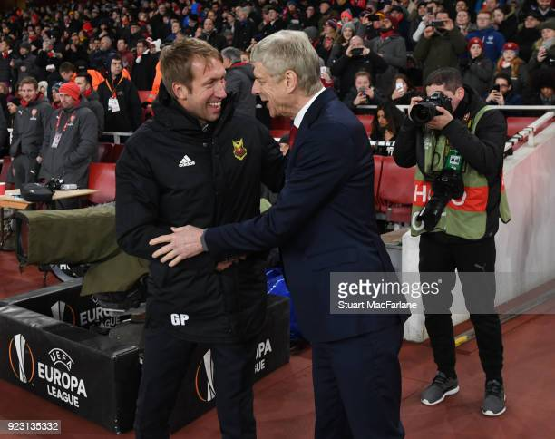 Arsenal manager Arsene Wenger shakes hands with Ostersunds manager Graham Potter before the UEFA Europa League Round of 32 match between Arsenal and...