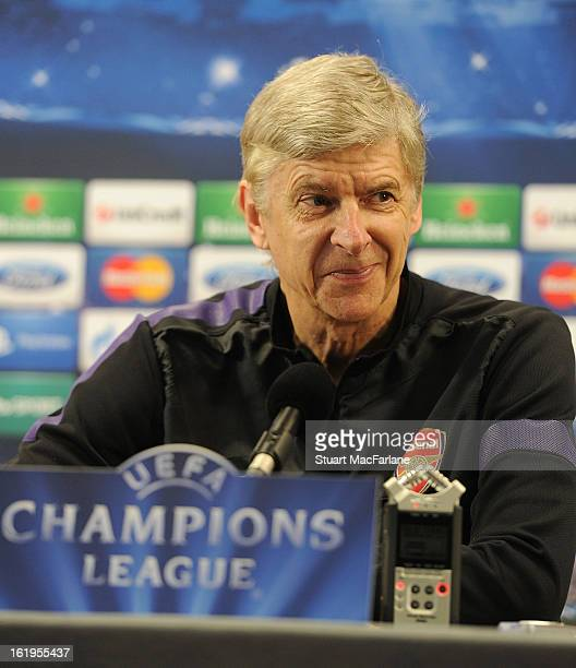Arsenal manager Arsene Wenger smiles durinf a press conference ahead of their UEFA Champions League match against FC Bayern Muenchen at London Colney...