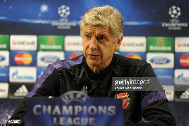 Arsenal manager Arsene Wenger speaks during a press conference ahead of their UEFA Champions League group stage match against Schalke 04 at London...