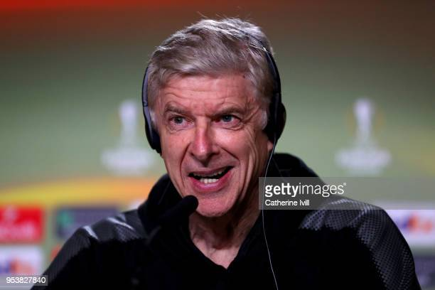 Arsenal manager Arsene Wenger speaks during a press conference at Estadio Wanda Metropolitano on May 2 2018 in Madrid Spain