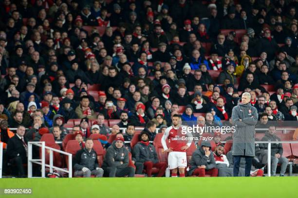 Arsenal Manager Arsene Wenger stands on the sidelines during the Premier League match between Arsenal and Newcastle United at the Emirates Stadium on...