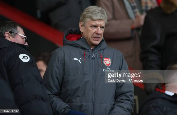 Arsenal manager Arsene Wenger takes his seat in the stands during the Premier League match at the Vitality Stadium Bournemouth