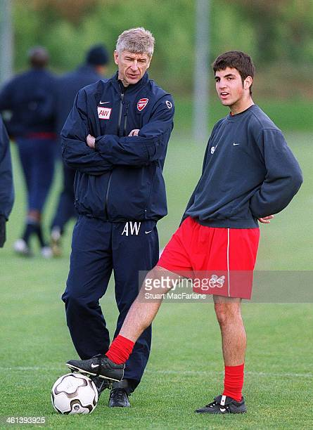 Arsenal manager Arsene Wenger talks with Cesc Fabregas during a training session on November 4 2003 in London England