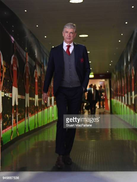 Arsenal manager Arsene Wenger walks to the home changing room before the Premier League match between Arsenal and West Ham United at Emirates Stadium...
