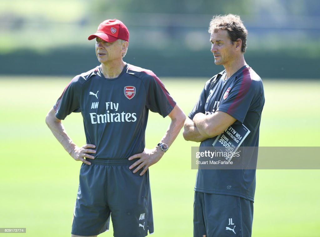 Arsenal manager Arsene Wenger with 1st team coach Jen Lehmann during a training session at London Colney on July 5, 2017 in St Albans, England.
