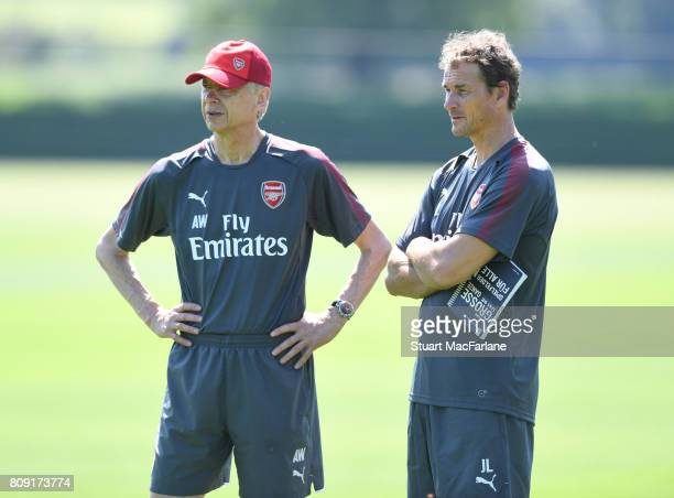 Arsenal manager Arsene Wenger with 1st team coach Jen Lehmann during a training session at London Colney on July 5 2017 in St Albans England