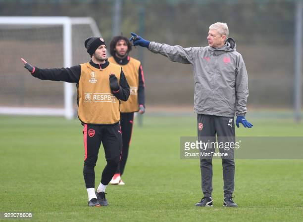 Arsenal manager Arsene Wenger with Jack Wilshere during a training session at London Colney on February 21 2018 in St Albans England