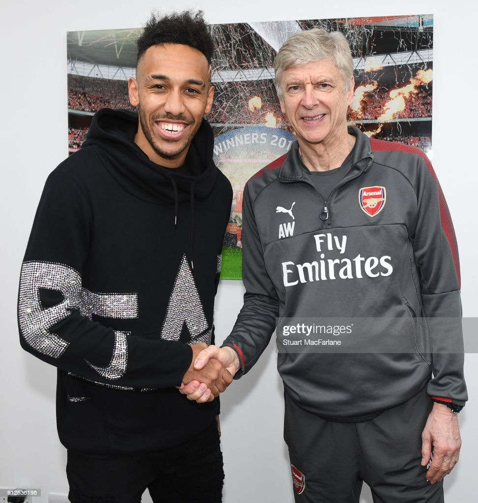Arsenal manager Arsene Wenger with new signing Pierre-Emerick Aubameyang at London Colney on January 31, 2018 in St Albans, England.
