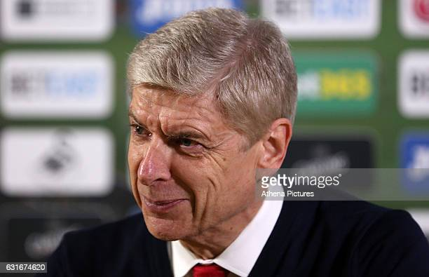 Arsenal Manager Arsène Wenger during the post match press conference after the Premier League match between Swansea City and Arsenal at The Liberty...