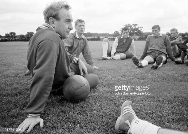 Arsenal manager Billy Wright with assistant coach Les Shannon during a training session at London Colney, in England, on 21st August 1962.