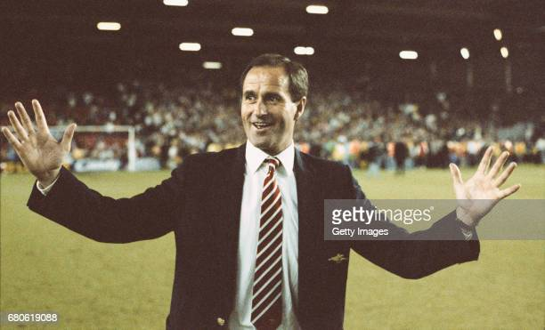 Arsenal manager George Graham celebrates on the pitch after Arsenal had beaten Liverpool 20 to win the First Division Championship at Anfield on May...
