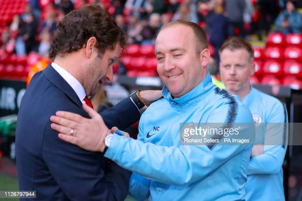 Arsenal manager Joe Montemurro and Manchester City manager Nick Cushing ahead of the FA Women's Continental League Cup final at Bramall Lane Sheffield