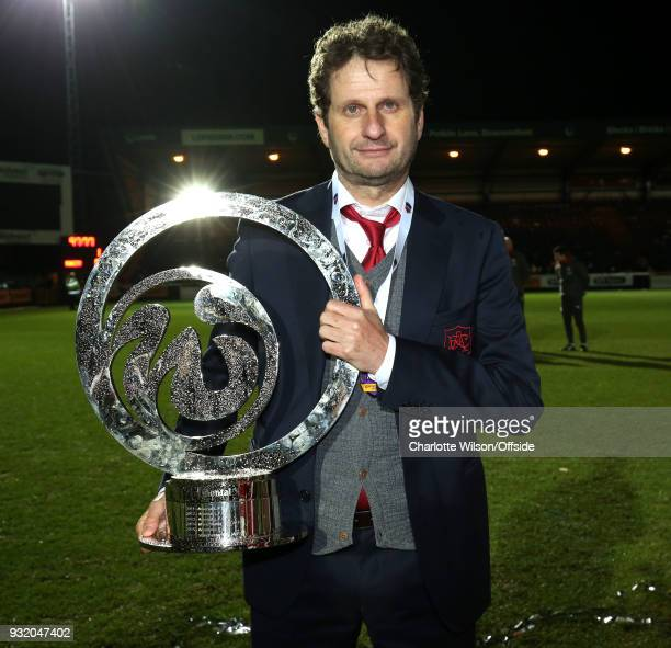 Arsenal manager Joe Montemurro poses with the trophy during the WSL Continental Cup Final between Arsenal Women and Manchester City Ladies at Adams...
