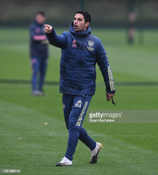 Arsenal manager Mikel Arteta during a training session at London Colney on October 24, 2020 in St Albans, England.
