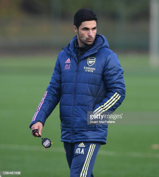 Arsenal manager Mikel Arteta during a training session at London Colney on November 07 2020 in St Albans England