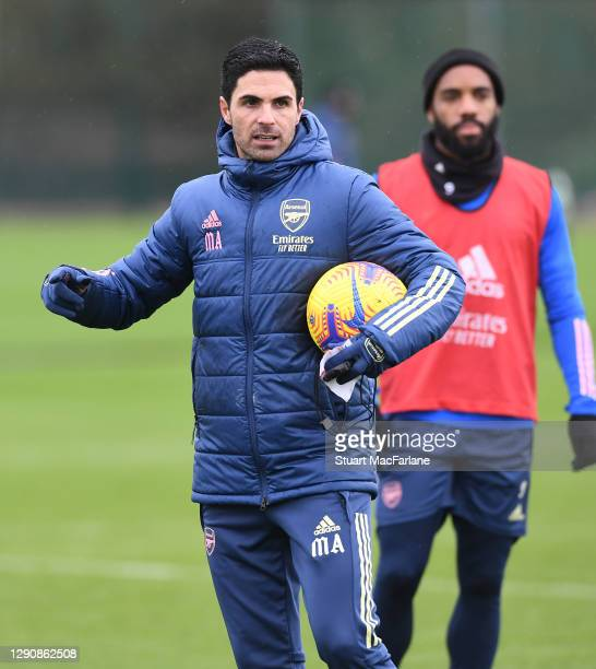 Arsenal manager Mikel Arteta during a training session at London Colney on December 12, 2020 in St Albans, England.