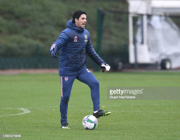 Arsenal manager Mikel Arteta during a training session at London Colney on December 21, 2020 in St Albans, England.