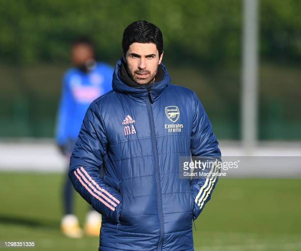 Arsenal manager Mikel Arteta during a training session at London Colney on January 25, 2021 in St Albans, England.