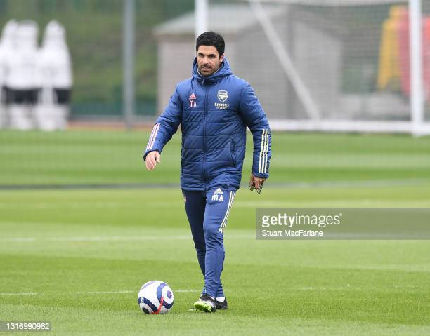 Arsenal manager Mikel Arteta during a training session at London Colney on May 08, 2021 in St Albans, England.