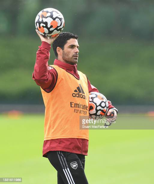 Arsenal manager Mikel Arteta during a training session at London Colney on July 30, 2021 in St Albans, England.
