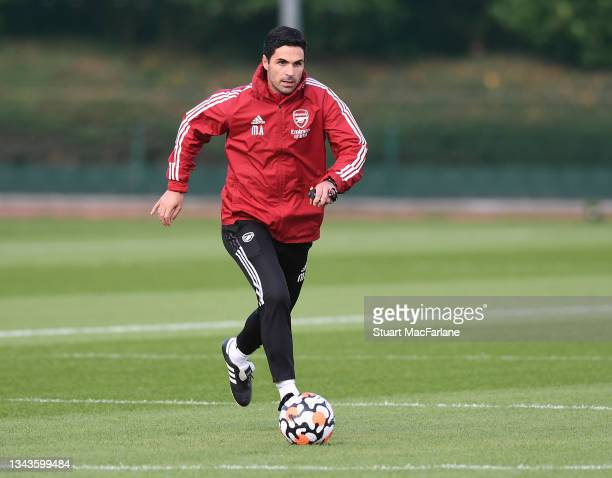 Arsenal manager Mikel Arteta during a training session at London Colney on September 28, 2021 in St Albans, England.