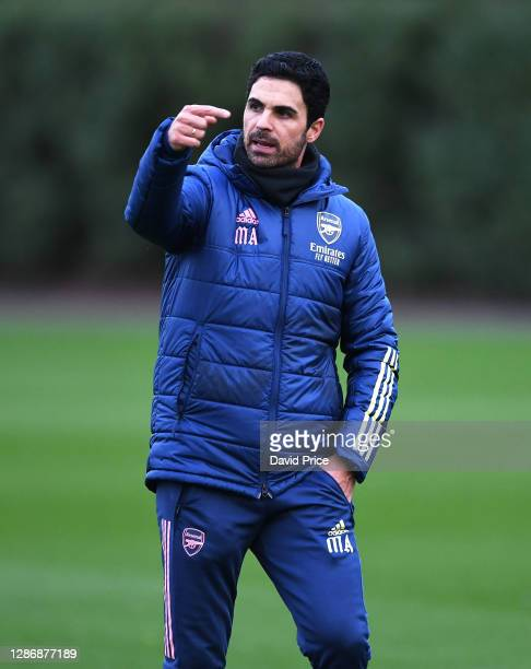 Arsenal Manager Mikel Arteta during the Arsenal 1st team training session at London Colney on November 21 2020 in St Albans England