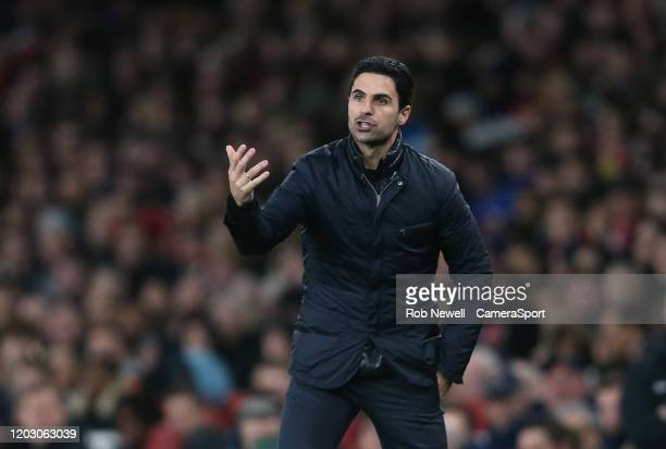 Arsenal manager Mikel Arteta during the Premier League match between Arsenal FC and Everton FC at Emirates Stadium on February 23 2020 in London...
