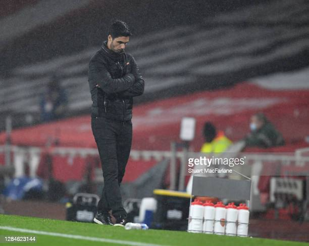 Arsenal manager Mikel Arteta during the Premier League match between Arsenal and Aston Villa at Emirates Stadium on November 08 2020 in London...